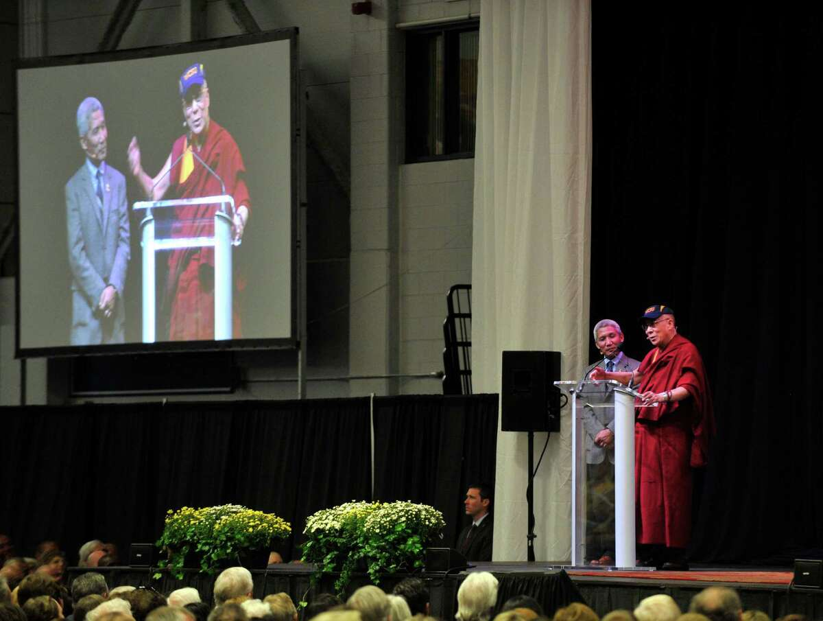 The Dalai Lama speaks to a crowd at the O'Neill Center on Western Connecticut State University's west side campus during his