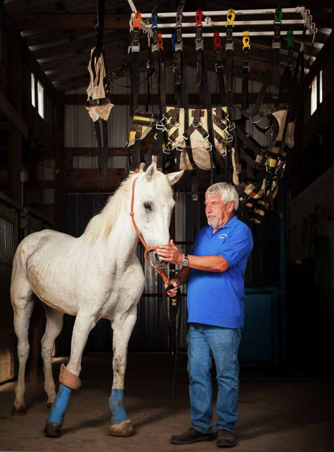 Jerry Finch, President and Founder of Habitat for Horses, stands beside Eli, an injured horse originally from Austin, inside his barn at the Habitat for Horses ranch, Monday, Oct. 15, 2012, in Hitchcock. Photo: Michael Paulsen, Houston Chronicle / © 2012 Houston Chronicle