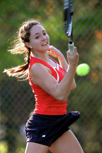Emma Willard's Claire Schmitz returns the ball during her Class AA tennis final on Thursday, Oct. 18