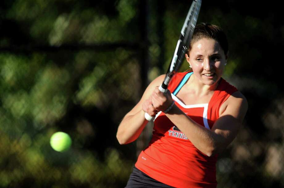 Emma Willard's Claire Schmitz returns the ball during her Class AA tennis final on Thursday, Oct. 18, 2012, at Central Park in Schenectady, N.Y. (Cindy Schultz / Times Union) Photo: Cindy Schultz / 00019736A
