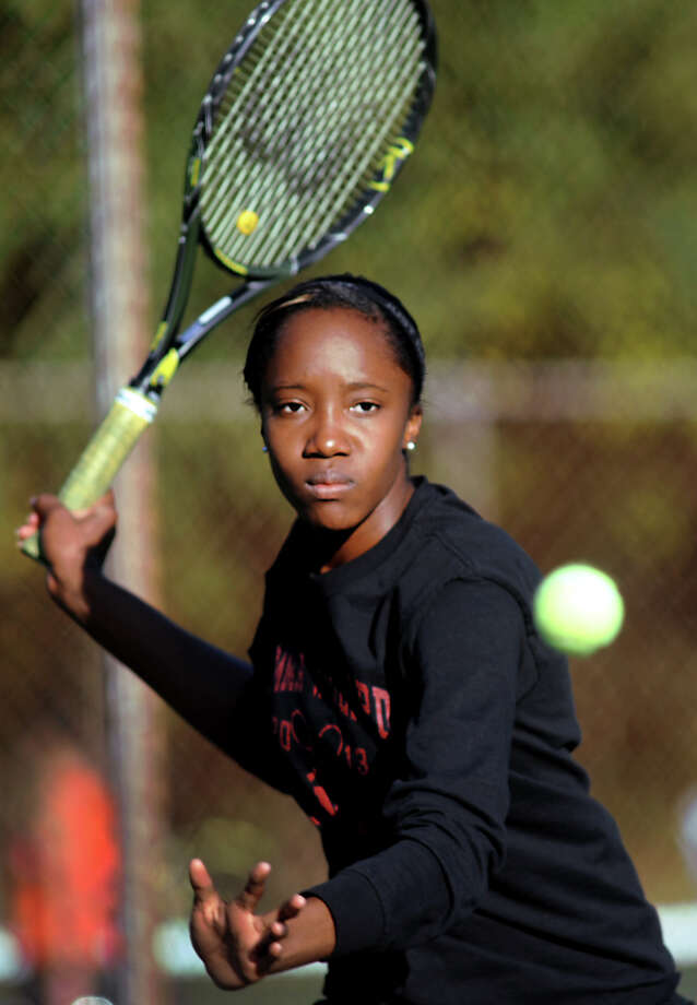 Emma Willard's Keishorea Armstrong returns the ball during her Class AA tennis final on Thursday, Oct. 18, 2012, at Central Park in Schenectady, N.Y. (Cindy Schultz / Times Union) Photo: Cindy Schultz / 00019736A
