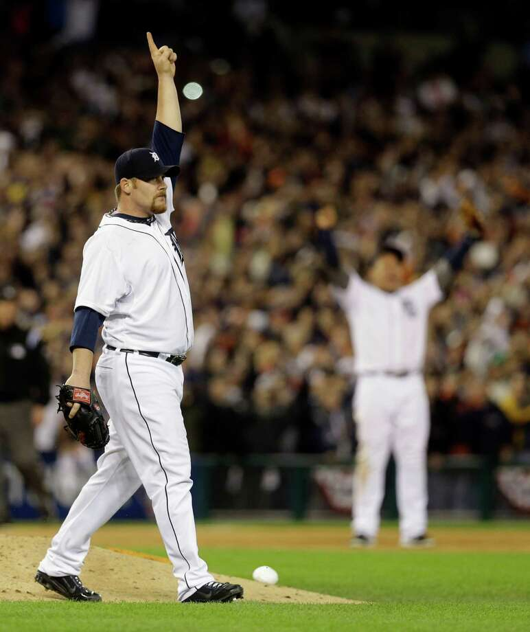 Detroit Tigers' Phil Coke reacts to the final out against the New York Yankees at Game 4 of the American League championship series, Thursday, Oct. 18, 2012, in Detroit. The Tigers won 8-1 and move on to the World Series. (AP Photo/Paul Sancya ) Photo: Paul Sancya