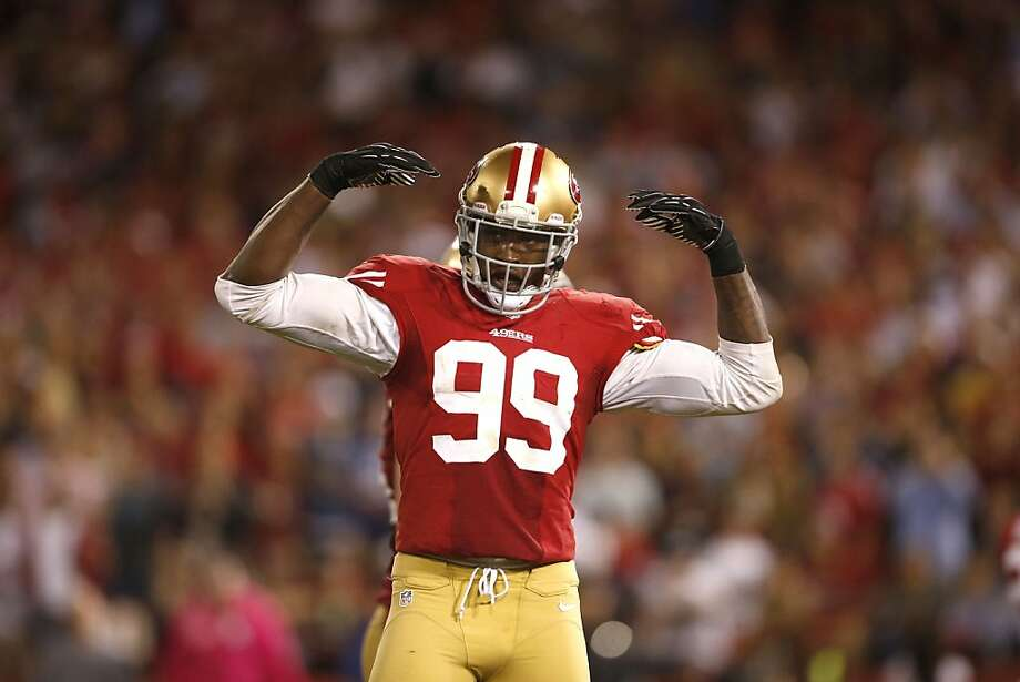 Aldon Smith has learned the hard way that it's sometimes easier to grab headlines for off-the-field activities. Photo: Stephen Lam, Special To The Chronicle