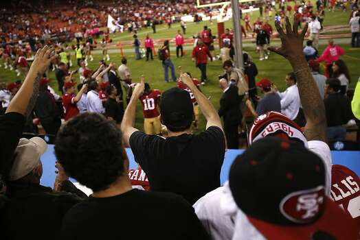 Fans celebrate the 49ers 13-6 win over the Seahawks Candlestick Park in San Francisco, Calif., on Thursday October 18, 2012. Photo: Stephen Lam, Special To The Chronicle