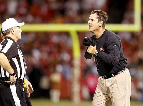 49ers coach Jim Harbaugh was outraged by a call by referee Walt Anderson in the fourth quarter. The San Francisco 49ers beat the Seattle Seahawks 13-6 in San Francisco, Calif at Candlestick Park, Photo: Brant Ward, The Chronicle