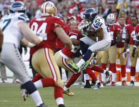 Seattle Seahawks wide receiver Doug Baldwin (89) catches a pass during the first quarter of the San Francisco 49ers game against the Seattle Seahawks at Candlestick Park in San Francisco, Calif., on Thursday October 18, 2012. Photo: Brant Ward, The Chronicle