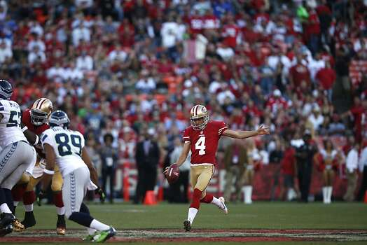 Punter Andy Lee (4) during the first half of the San Francisco 49ers game against the Seattle Seahawks at Candlestick Park in San Francisco, Calif., on Thursday October 18, 2012. Photo: Stephen Lam, Special To The Chronicle
