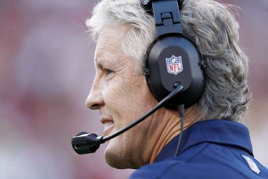 Seattle Seahawks coach Pete Carroll during the San Francisco 49ers game against the Seattle Seahawks at Candlestick Park in San Francisco, Calif., on Thursday October 18, 2012. Photo: Brant Ward, The Chronicle
