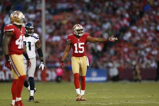 49ers Wide receiver Michael Crabtree (15) during the first half of the San Francisco 49ers game against the Seattle Seahawks at Candlestick Park in San Francisco, Calif., on Thursday October 18, 2012. Photo: Beck Diefenbach, Special To The Chronicle