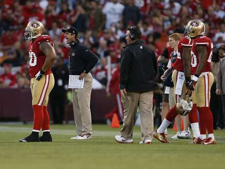 coach Jim Harbaugh reacts to a call during the first half of the San Francisco 49ers game against the Seattle Seahawks at Candlestick Park in San Francisco, Calif., on Thursday October 18, 2012. Photo: Beck Diefenbach, Special To The Chronicle