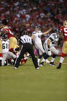 Seattle Seahawks placekicker Steven Hauschka (4) kicks a field goal in the first half of the San Francisco 49ers game against the Seattle Seahawks at Candlestick Park in San Francisco, Calif., on Thursday October 18, 2012. Photo: Beck Diefenbach, Special To The Chronicle