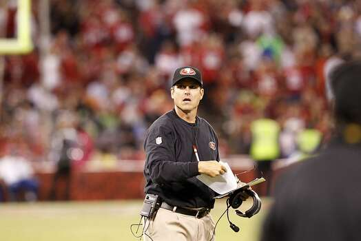 Coach Jim Harbaugh during the third quarter of the San Francisco 49ers game against the Seattle Seahawks at Candlestick Park in San Francisco, Calif., on Thursday October 18, 2012. Photo: Brant Ward, The Chronicle