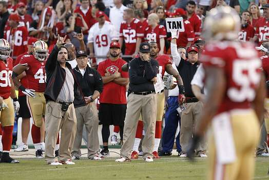 Coach Jim Harbaugh during the first half of the San Francisco 49ers game against the Seattle Seahawks at Candlestick Park in San Francisco, Calif., on Thursday October 18, 2012. Photo: Brant Ward, The Chronicle