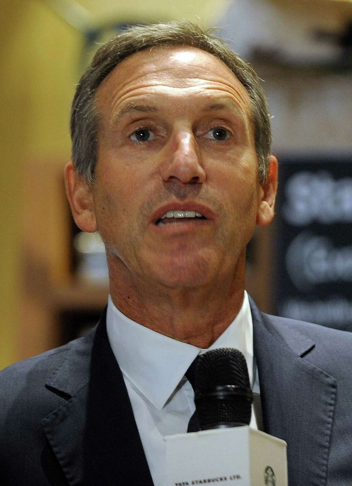 Just how important was the first Starbucks store in India? Important enough that CEO Howard Schultz was there to talk to reporters. (PUNIT PARANJPE/AFP/Getty Images)