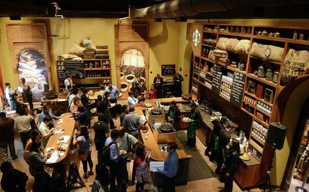 Another view of Starbucks' first store in India. (PUNIT PARANJPE/AFP/Getty Images) Photo: PUNIT PARANJPE, Ap/getty / 2012 AFP