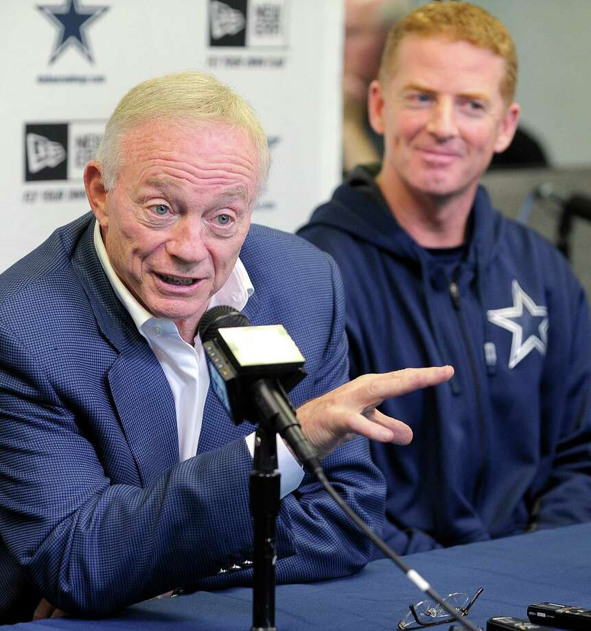 Dallas Cowboys owner Jerry Jones, left, and Cowboys coach Jason Garrett hold a pre-draft press conference in the scouting atrium at Valley Ranch in Irving, Texas, Monday, April 22, 2013.  (Max Faulkner/Fort Worth Star-Telegram/MCT) Photo: Max Faulkner, McClatchy-Tribune News Service / Fort Worth Star-Telegram