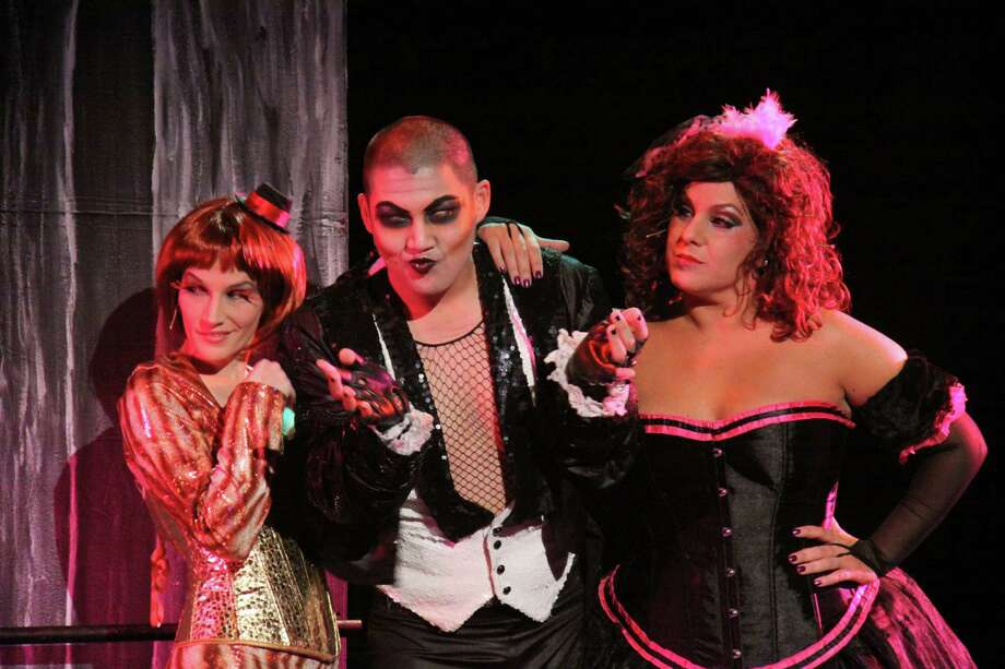 "(letf to right) Jamie Weisberg is Columbia, Keith Leonardt is Riff Raff and Stephanie J. Varanelli Miles plays Magenta in the live production of ""The Rocky Horror Show"" at the Warner Theatre in Torrington Oct. 26 and 27. Photo: Contributed Photo"