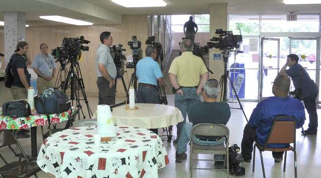 Local and out-of-town media wait for the judge to make his decision.  Attorneys were back in the 356 District Court Thursday morning before Judge Steve Thomas.After hearing more arguments before lunch, Thomas announced after lunch that he would grant the temporary injunction till the jury trial date of June 24, 2013.   The Kountze cheerleaders extended temporary restraining order was due to expire Thursday at midnight. Dave Ryan/The Enterprise