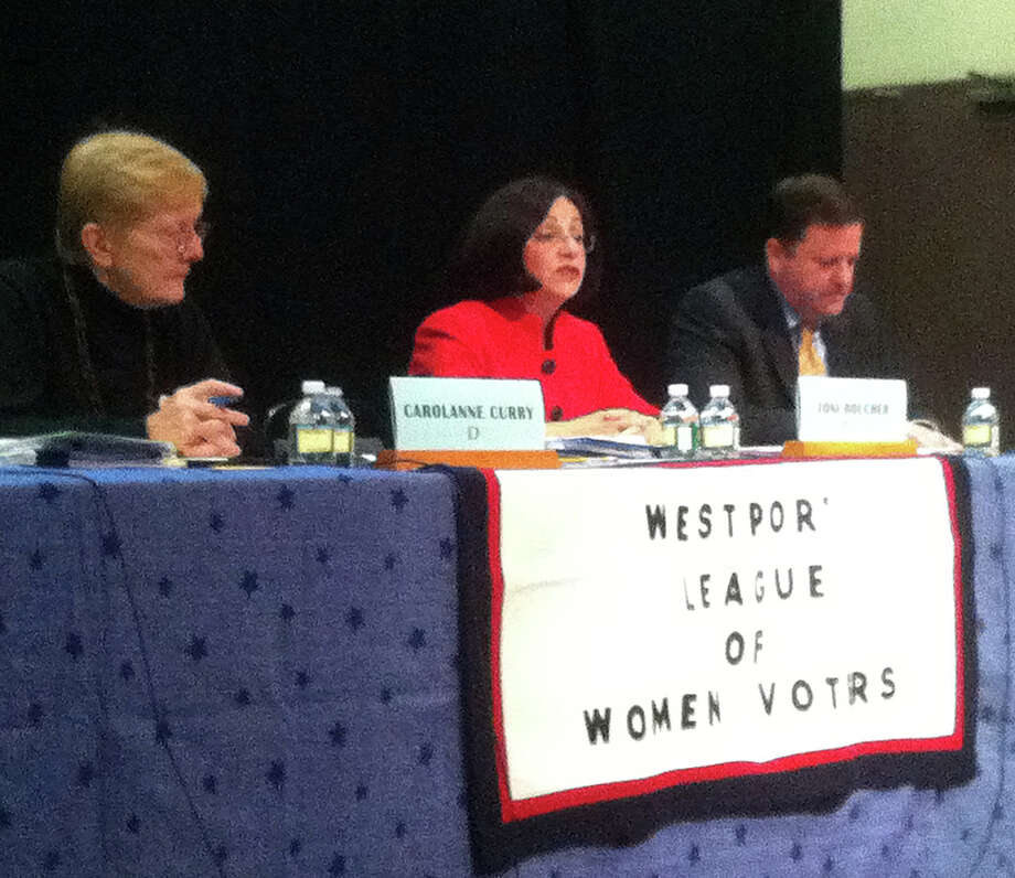 The candidates for Westport's state Senate seats take part in a forum hosted by the League of Women Voters of Westport at Town Hall. From left, are: Democrat Carolanne Curry; Republican state Sen. Toni Boucher; and Republican state Sen. John McKinney. Photo: Paul Schott / Westport News