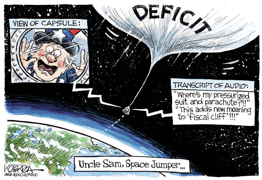 "Jeff Koterba color cartoon for 10/22/2012 from the Omaha World Herald. ""Space Jumper Deficit"""