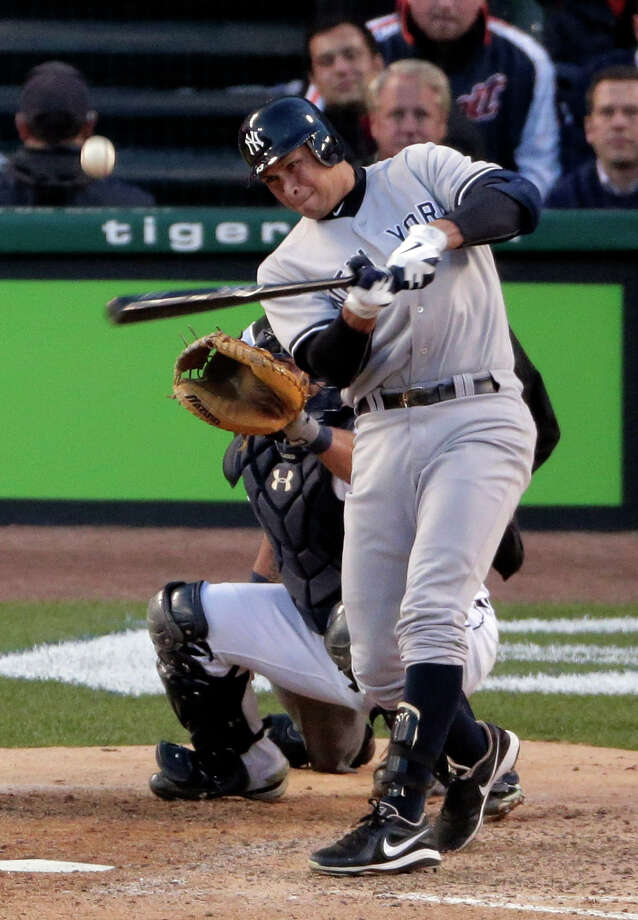 New York Yankees' Alex Rodriguez flies out in the sixth inning during Game 4 of the American League championship series against the Detroit Tigers Thursday, Oct. 18, 2012, in Detroit. Photo: Charlie Riedel, AP / AP
