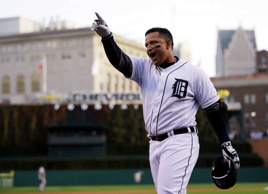 Detroit Tigers' Miguel Cabrera celebrates after hitting a two run home run in the fourth inning during Game 4 of the American League championship series against the New York Yankees Thursday, Oct. 18, 2012, in Detroit. Photo: Matt Slocum, AP / AP