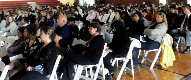 Students and faculity at Wooster School in Danbury view the Dali Lama's live streaming telecast on Friday, Oct. 19, 2012. Photo: Michael Duffy / The News-Times