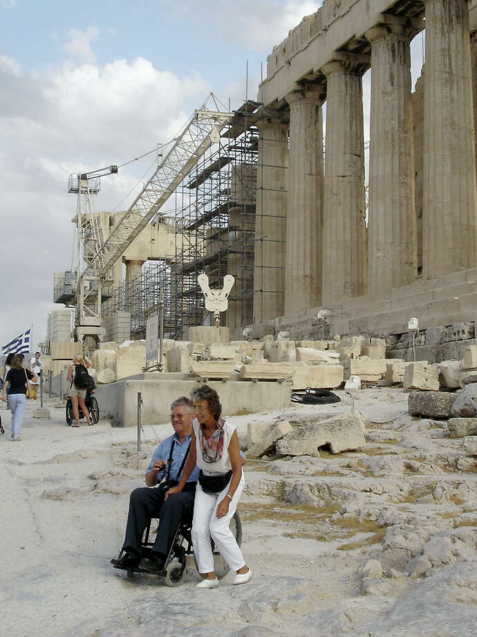Even ancient sites can have modern conveniences: Travelers who can't use steps can take an elevator to reach the top of the Acropolis in Athens. Photo: Rick Steves, Ricksteves.com