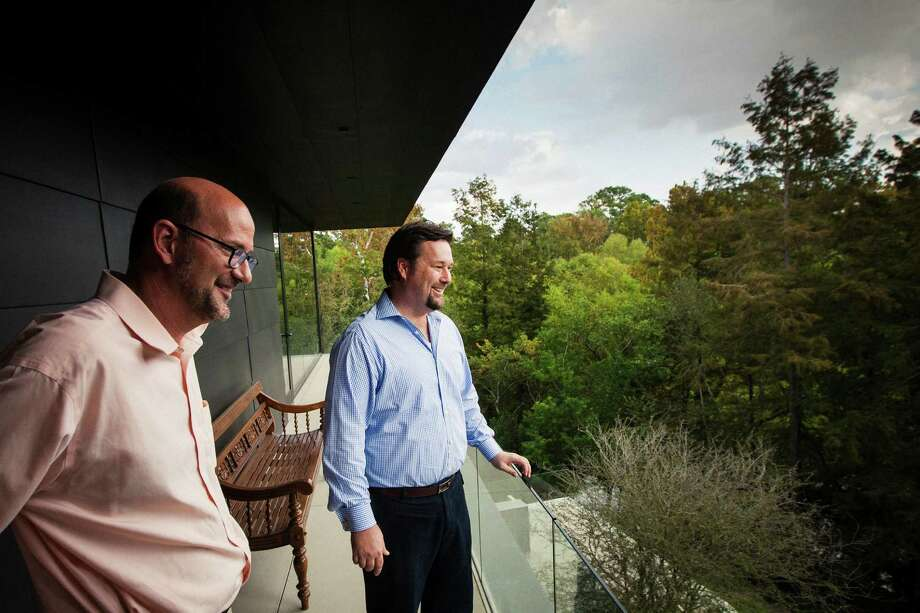 Michael Bleyzer's office inside his 15,000-square-foot house overlooking a wooded nature preserve on the banks of Buffalo Bayou and designed by the firm Stern & Bucek, Wednesday, Oct. 10, 2012, in Houston.  The Bleyzer House is on this year's American Institute of Architects Home Tour 2012.  ( Michael Paulsen / Houston Chronicle ) Read more about the house in Lisa Gray's column. Photo: Michael Paulsen / © 2012 Houston Chronicle