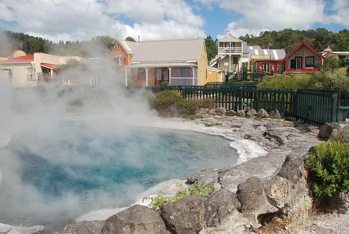 The village of Whakarewarewa sits among thermal vents and boiling pools.