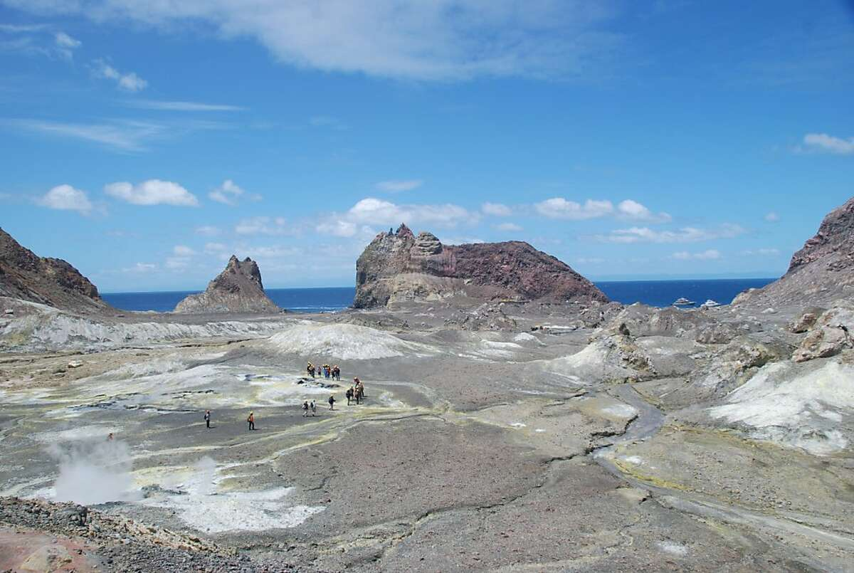 Views of the Pacific Ocean from the center of White Island, New Zealand's only marine volcano.