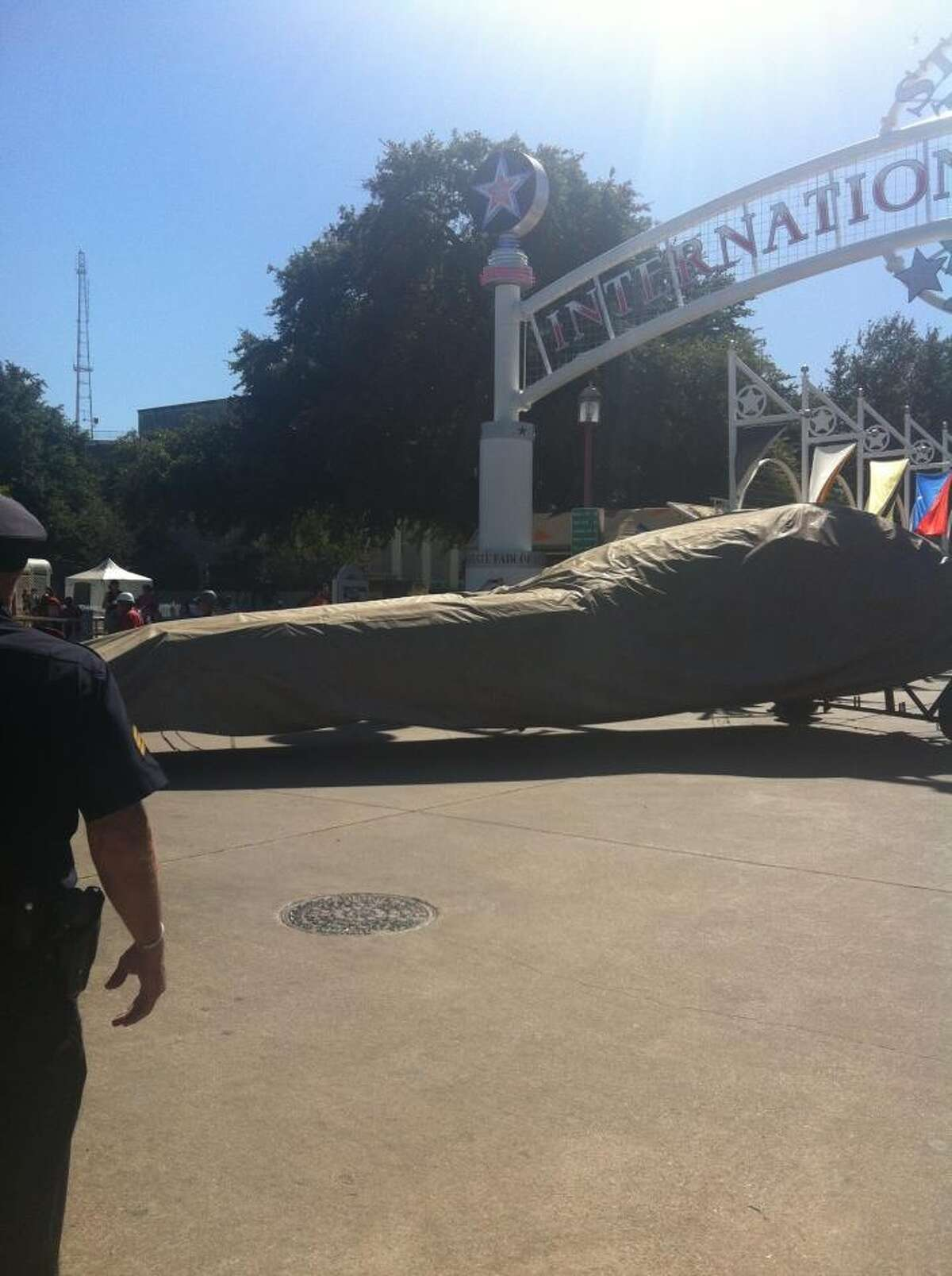 Big Tex being dismantled at Fair Park in Dallas after fire destroyed the iconic figure. | Courtesy Candy Cates O'Neill