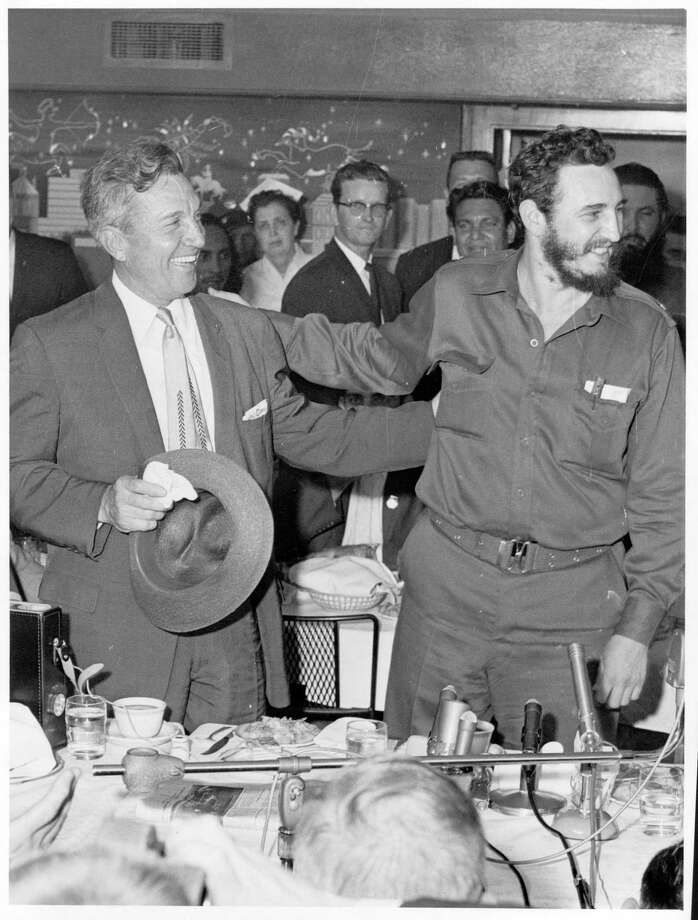 Fidel Castro and Houston Mayor Lewis Cutrer are all smiles during a dinner and visit in April 1959. Photo: Tom Colburn, Houston Chronicle / Houston Chronicle