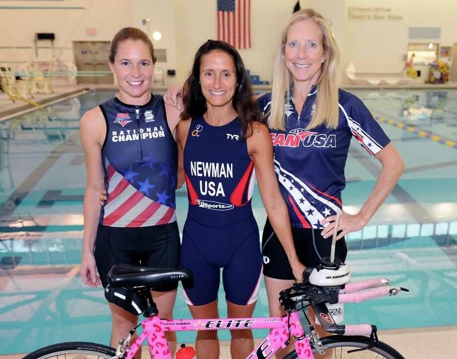 Three Greenwich women, Megan Kelly, left, Karen Newman,and  Katha Diddel, have qualified for the IronMan world championships in New Zealand next month Tuesday, Oct. 2, 2012. Photo: Helen Neafsey / Greenwich Time