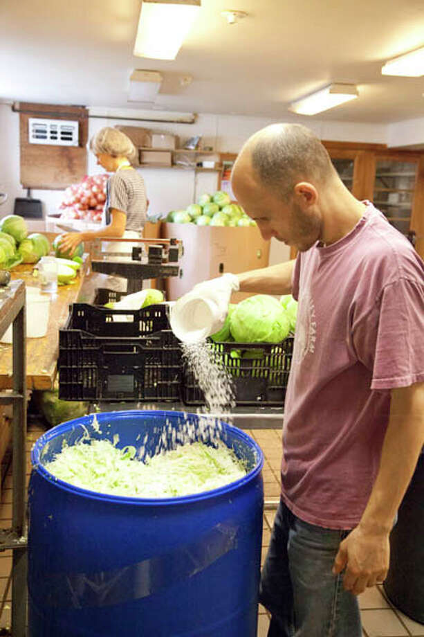 Making sauerkraut is easier than you think, according to Paul Hess, manager of the Kraut Cellar in Ghent. Read more here. Photo: Natalie Cartz/Life@Home