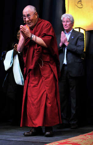 The Dalai Lama and Richard Gere are seen at the O'Neill Center on Western Connecticut State University's westside campus in Danbury on Friday, Oct. 19, 2012. Photo: Jason Rearick / The News-Times