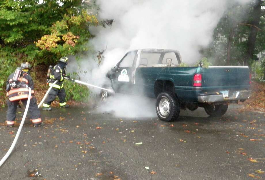 Westport firefighters responded Friday afternoon to a truck fire on Lee's Lane. Photo: Contributed Photo
