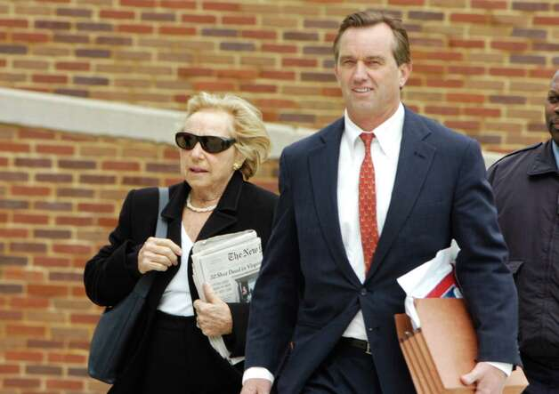 Ethel Kennedy and her son Robert Kennedy, Jr. enter the State Superior Court in Stamford on Tuesday April 17, 2007 as Michael Skakel's hearing begins to request a new trial for the 1975 murder of Martha Moxley. Photo: Kathleen O'Rourke, File Photo / Stamford Advocate file