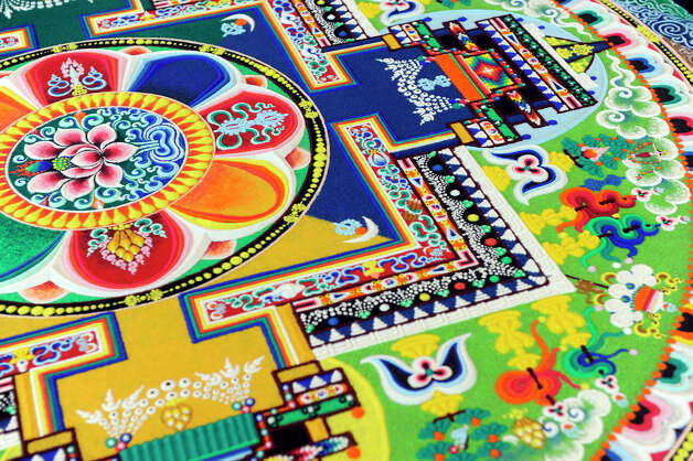 A detail of the completed mandala created by Tibetan Buddhist monks this week, in honor of the Dalai Lama's visit to Danbury. Photo: Carol Kaliff / The News-Times