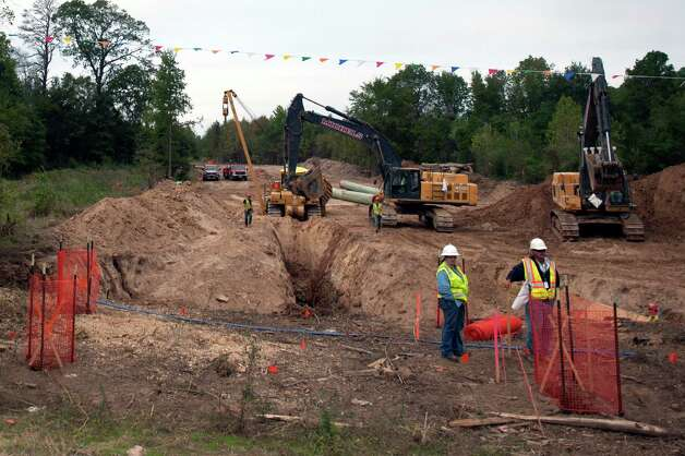 Work on the path of TransCanada Keystone XL pipeline near Winnsboro, Texas, Oct. 10, 2012. A group of environmental activists have taken to trees on the pipeline's path in a last ditch effort to stop the project. Photo: BRANDON THIBODEAUX, New York Times / NYTNS