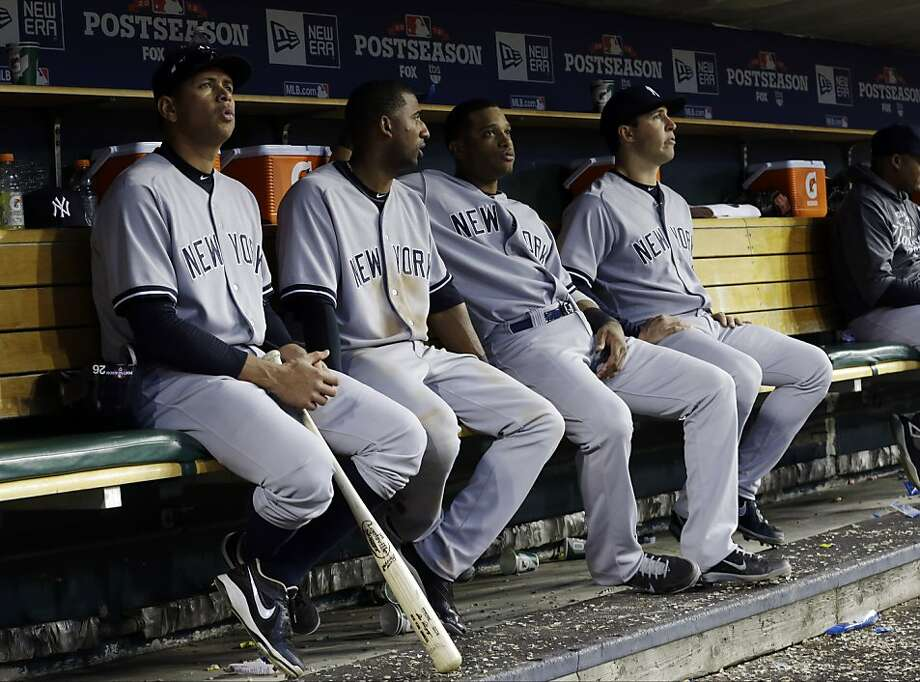 Eduardo Nuñez (second from left) had an .818 slugging percentage this postseason, but Yankees stars Alex Rodriguez (left), Robinson Cano and Mark Teixeira (right) all faded. Photo: Paul Sancya, Associated Press