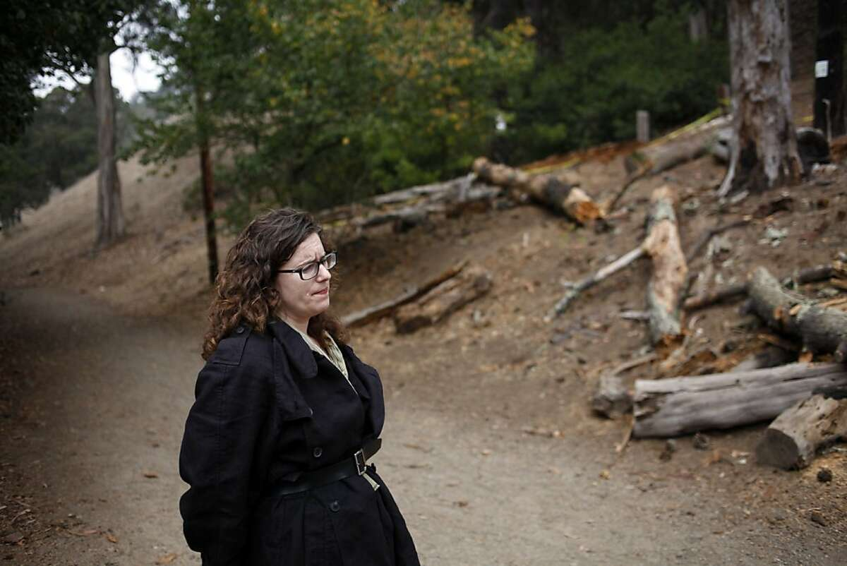 Karen Mauney-Brodek, Deputy Director for Park Planning, stands in Glen Canyon Park where two of the trees slated for removal recently fell in San Francisco, Calif., Friday, October 19, 2012. The plans to renovate the recreation center and playground include removing 58 trees and planting 163 new ones. The progress is being held up by citizens concerned about trees being removed, but Mauney-Brodek says they are being replaced at rate of more than two for one, and many of them are hazardous or in poor condition.