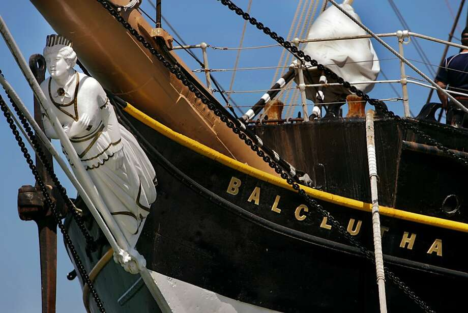 The 1886 windjammer Balclutha has a permanent birth at the Hyde Street Pier, where it shares tourists with the old lumber schooner C.A. Thayer. Photo: Chris Hardy, SFC