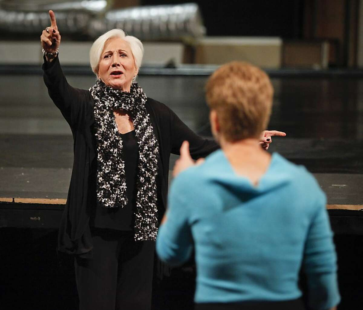 """Olympia Dukakis, star of the upcoming ACT production of, """"Elektra,"""" rehearses a scene with director Carey Perloff on Wednesday, Oct. 10, 2012 at the Geary Theater in San Francisco, Calif."""