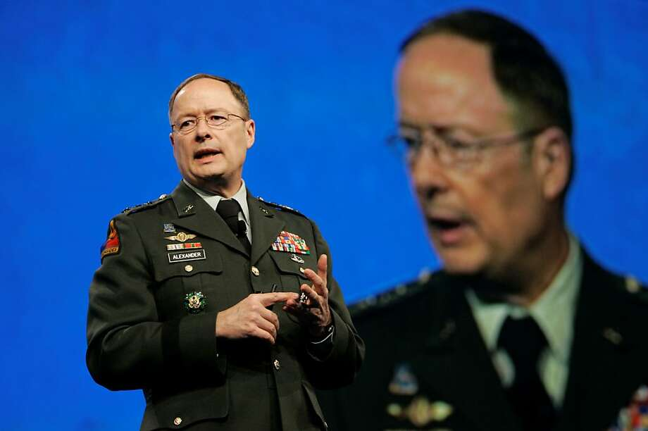 Then-National Security Agency Director Lt. General Keith Alexander speaks of cyber-threats in 2009 in S.F. Photo: Jeff Chiu, Associated Press