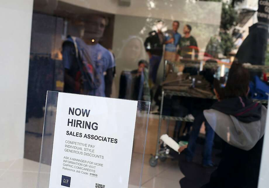 As the Gap seeks workers in S.F., the state's unemployment rate falls to 10.2 percent. Photo: Justin Sullivan, Getty Images
