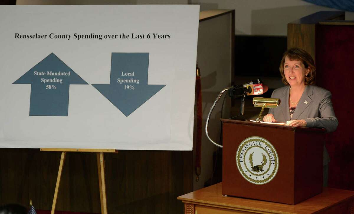 Rensselaer County Executive Kathleen Jimino unveiled her 2013 budget in the Rensselaer County Legislative Chambers in Troy, N.Y. Oct 19, 2012. (Skip Dickstein/Times Union)