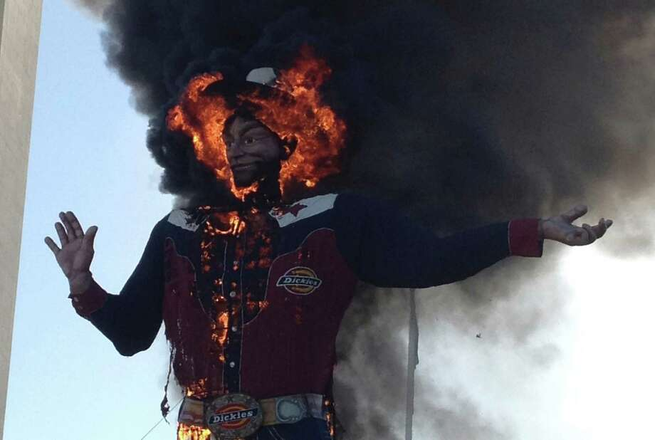 An electrical fault is suspected as the cause of the fire that engulfed the Big Tex cowboy figure Friday at the State Fair in Dallas. Photo: John McKibben / John McKibben