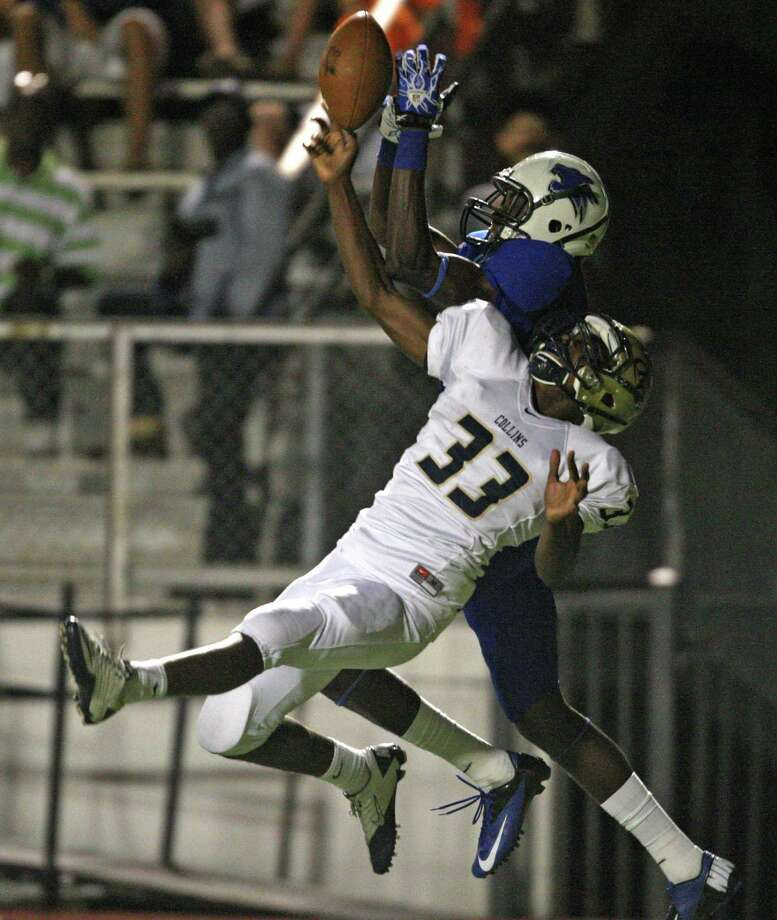 Klein Collins defensive back Eric Lacy breaks up a pass in the end zone intended for Dekaney wide receiver Richardo Barnett during the first half. Photo: Eric Christian Smith, For The Chronicle