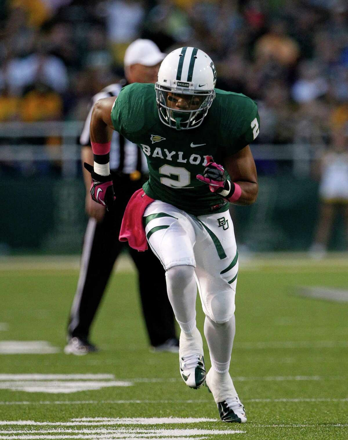 Baylor wide receiver Terrance Williams (2) runs a route in the first half of an NCAA college football game against TCU Saturday, Oct. 13, 2012, in Waco, Texas. TCU defeated Baylor 49-21. AP Photo/Tony Gutierrez)